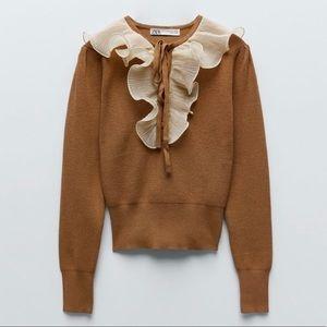 NWT ZARA Combination Ruffles Sweater S